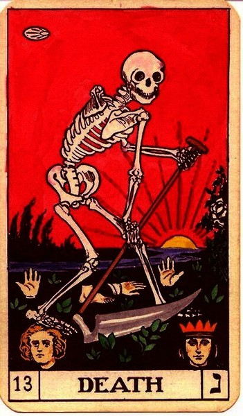 Death Card Tarot And  Of Cups Before Traveling