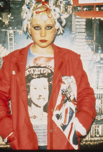 Punk girl in fronot of Seditionaries Shop, London