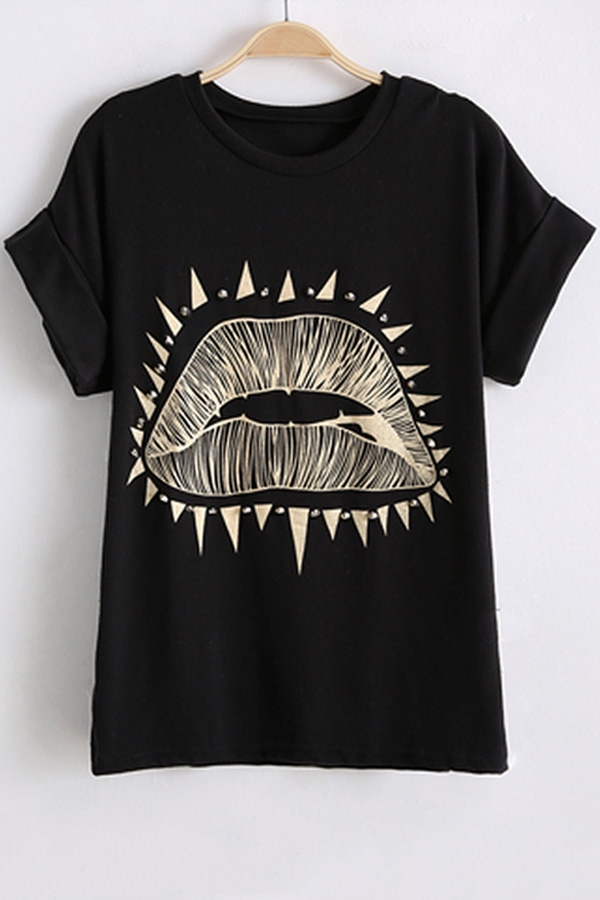 lips shirt rivet