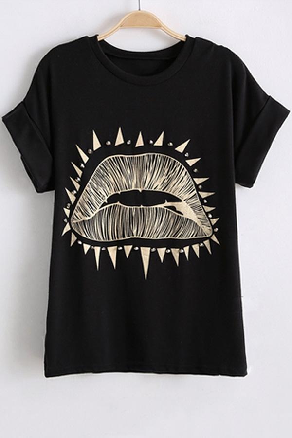 lips shirt rivet