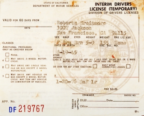 hersh Roberta's Driver's License (DF219767, SnF 1r.January 20, 1976