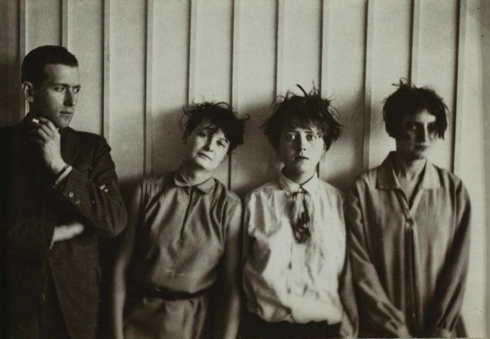 bauhaus Erich Consemüller, Marcel Breuer and his %22harem%22 (from left to right- Marta Erps-Breuer, Katt Both and Ruth Hollos-Consemüller), ca. 1927