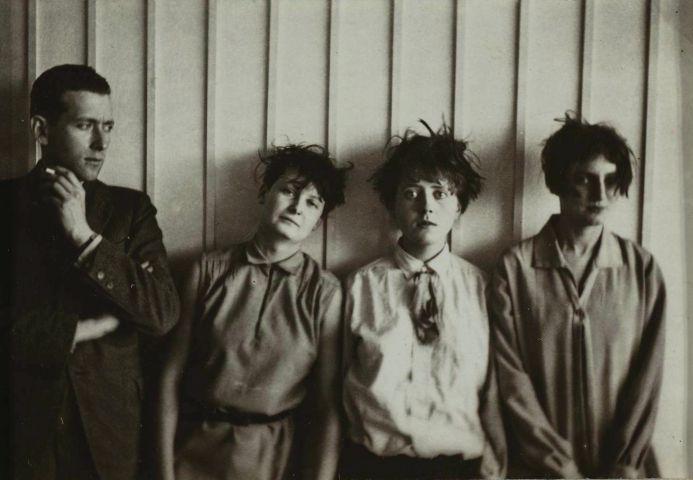 bauhaus Erich Consemüller, Marcel Breuer and his %22harem%22 (from left to right- Marta Erps-Breuer, Katt Both and Ruth Hollos-Consemüller), ca. 1927