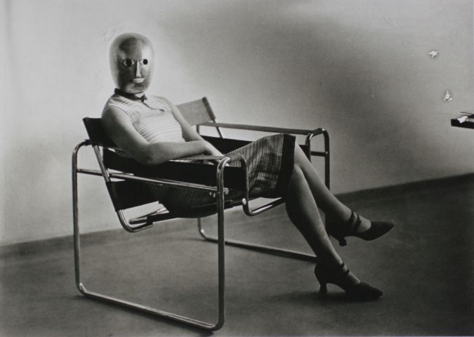 bauhaus photo Erich Consemüller, Bauhaus scene (Lis Beyer or Ise Gropius in tubular steel chair by Marcel Breuer), 1926