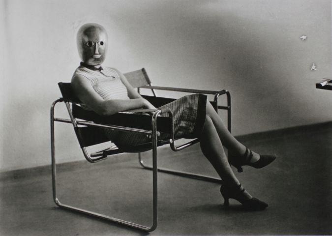 bauhaus photo Erich Consemüller, Bauhaus scene (Lis Beyer or Ise Gropius in tubular steel chair by Marcel Breuer), 1926